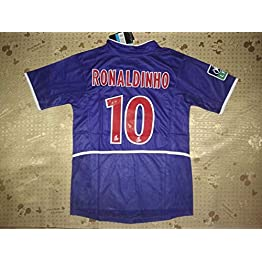 Ronaldinho#10 PSG. Retro Soccer Jersey 2002-2003 League One Patch