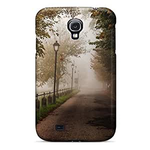 Cute Appearance Cover/tpu YjjMwMU1729ltovr Misty Road Through The Park Case For Galaxy S4