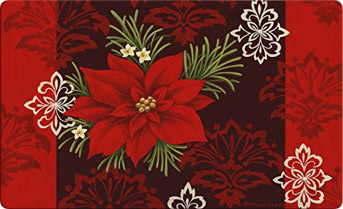 Toland Home Garden Red Damask 18 x 30 Inch Decorative Floor Mat Christmas Poinsettia Flower Holiday Doormat - 800109