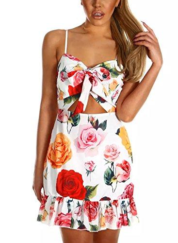 CANIKAT Womens Summer Retro Polka Dot Printed Sleeveless Spaghetti Strap Tie Front Ruffle Hem Casual Beach Mini Dress S Pink