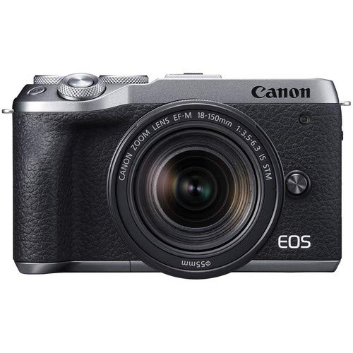 Canon EOS M6 Mark II Mirrorless Digital Camera (Silver) EVF-DC2 Viewfinder Kit with Canon EF-M 18-150mm is STM Lens + Canon 100EG Case + 64GB Memory + HD Filters + Auxiliary Lenses + Professional Kit