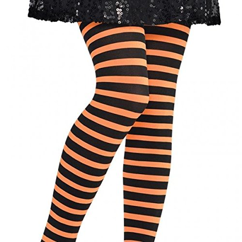 Amscan Orange & Black Striped Tights - Child S/M, -