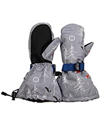Waterproof Stay-on Snow Mittens for Baby Toddler Kids (M: 4-6Y, The Rockies)