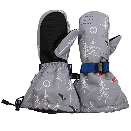 Waterproof Stay-on Winter Snow and Ski Mittens Fleece-Lined for Baby Toddler Kids Girls and Boys (S: 2-4Y, Snow Mitten: The Rockies)