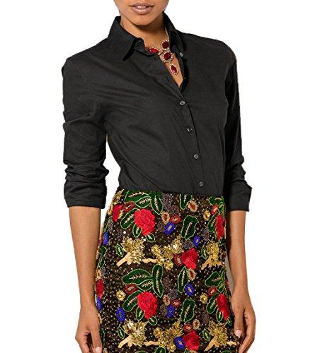 Nero Maglie Donna Estivo Camicie Manica Shirts Sottile Blouse Bottoni con a Risvolto Newlife Moda Bluse Lunga Tinta Unita xFqTwAgX