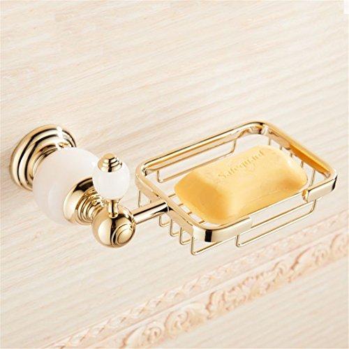 LINA bathroom accessories LAONA European white jade gold Antique Bathroom Wall in a bath towel rack towel bar Toilet brush, Soap Basket by LINA bathroom accessories