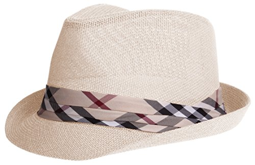 Enimay Vintage Unisex Fedora Hat Classic Timeless Light Weight 2116 - Beige S/m