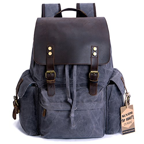 "SUVOM Vintage Canvas Leather Laptop Backpack for Men School Bag 15.6"" Waterproof Travel Rucksack (Grey)"