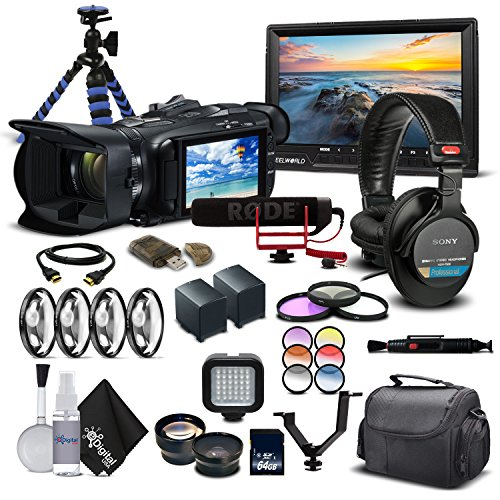 Canon VIXIA HF G21 Full HD Camcorder 2404C002 - Professional Bundle - With Monitor, Mic, 2 Extra Batteries, Pro Headphones, Case, Led Light, Filter Set, and Much More.