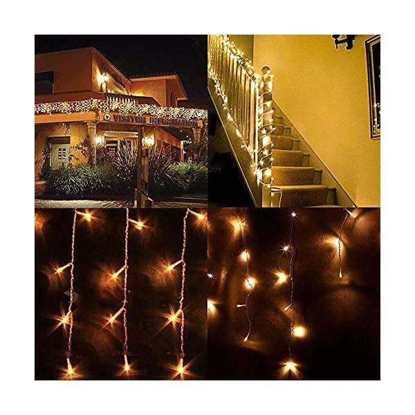 LED Tenda Luminosa, Catena Luminosa, Luci cascata, Luci per Tende, 216 LEDs 5M Natale Luci Stringa Bianco Caldo 8 Modalità Impermeabili IP44, per Natale finestra, porta, patio, giardino, feste 7 spesavip