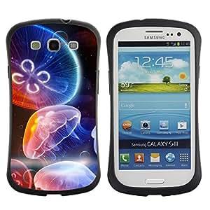 Hybrid Anti-Shock Bumper Case for Samsung Galaxy S3 / Colorful Jellyfish