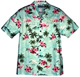 RJC 5X Big Mens Pink Flamingo Hibiscus Hawaiian Shirt BLUE
