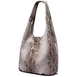 Realer Designer Women Totes Large Capacity Genuine Leather Handbags with Serpentine Pattern Coffee