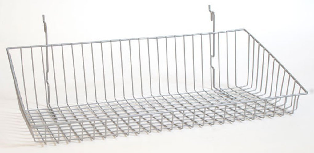 Set of 8 New White Wire Sloping basket 24''w x 12''d x 6''h back x 2''h front