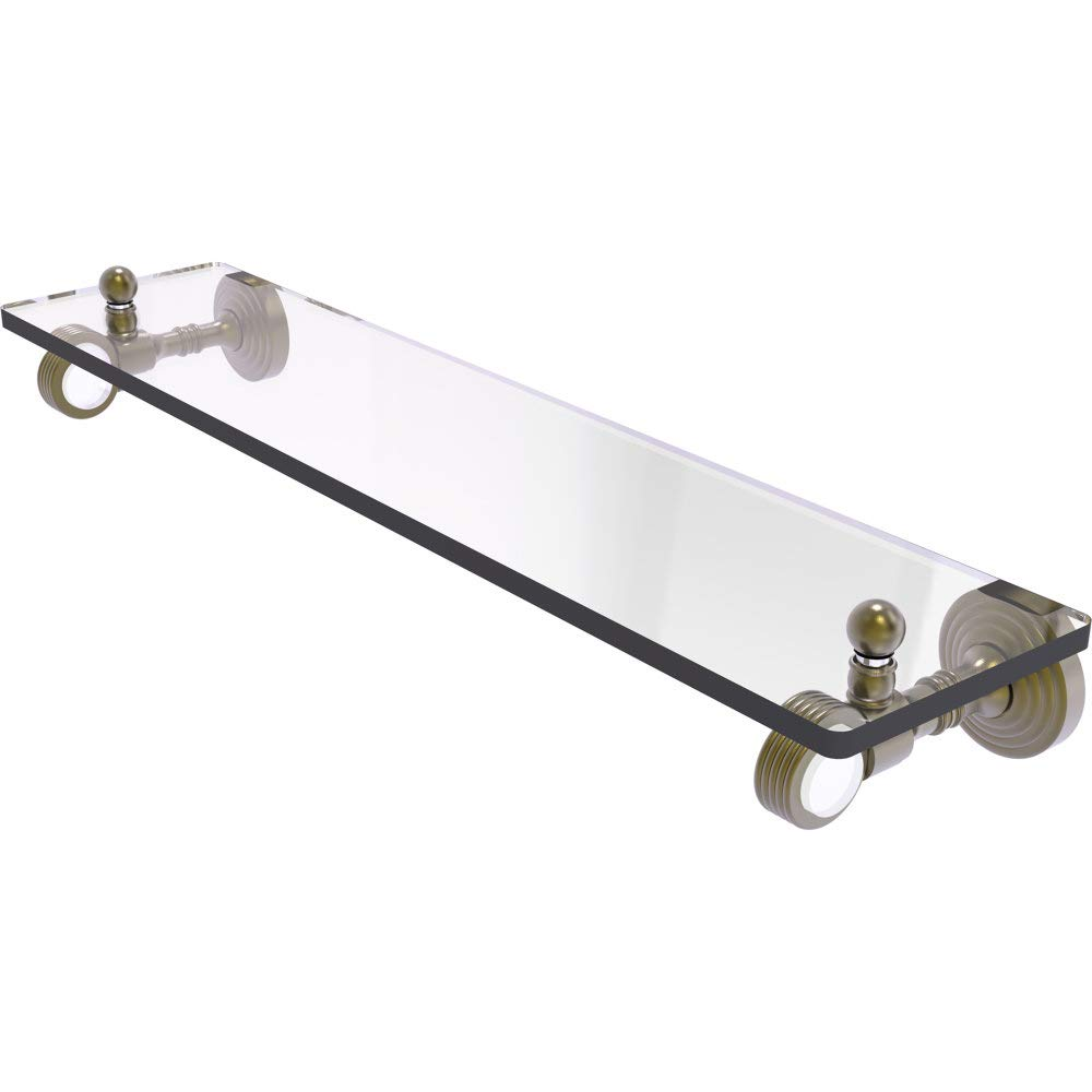 Allied Brass PG-1G-22-ABR Pacific Grove Collection 22 Inch Glass Shelf with Groovy Accents Antique Brass