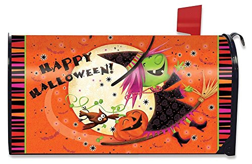 - Briarwood Lane Flying Witch Halloween Magnetic Mailbox Cover Full Moon Standard