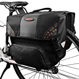 Ibera Bicycle Side-Mounting Pannier Set, Multi-Compartments, Slit on Top to Mount on Smaller Racks