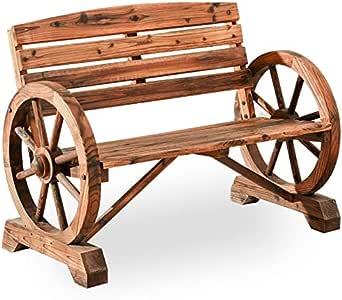 """PatioFestival Outdoor Bench Wooden Patio Porch Bench Wagon Wheel Design Rustic Bench for Garden,Porch,Yard(Wooden Color,45""""x21""""x32"""")"""