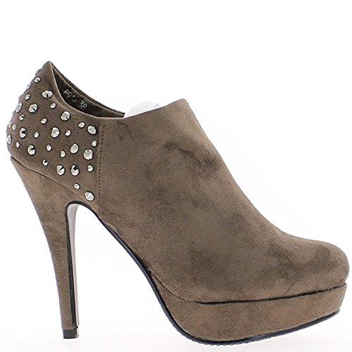 Hobnailed stivali marrone stile tacco di 12,5 cm di richelieu
