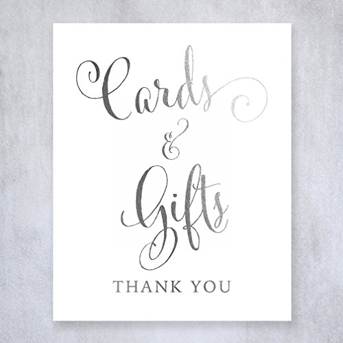 Cards and Gifts Silver Foil Small Sign Wedding Reception Party Signage Calligraphy Art Print Modern Poster 5 inches x 7 inches D35