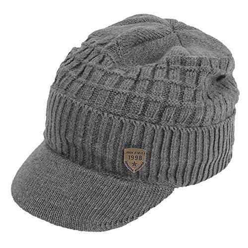 (Original One Men's Winter Visor Billed Beanie Hat with Brim Fleece Lined Knit Baseball Cap (Gray))