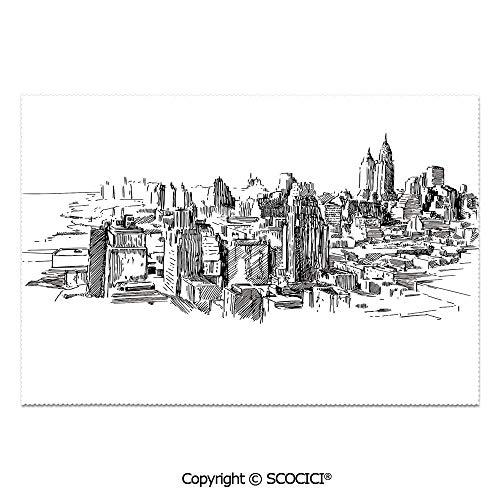SCOCICI Place Mats Set of 6 Personalized Printed Non-Slip Table Mats Sketchy New York Historical Western Center Downtown Modern USA Illustration Print for Dining Room Kitchen Table -
