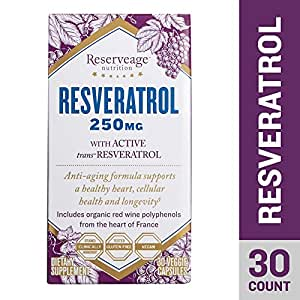 Reserveage - Resveratrol 250mg, Antioxidant Support for a Healthy Heart and Age Defying, Youthful Looking Skin with Organic Red Grapes and Quercetin, Gluten Free, Vegan, 30 Capsules
