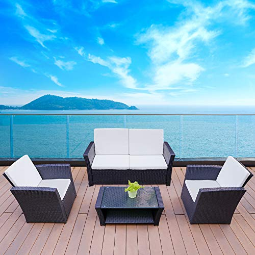 TUSY 5pcs Outdoor Patio Furniture Sets, High Back Rattan Chair Sectional Sofa and Coffee Table,  ...