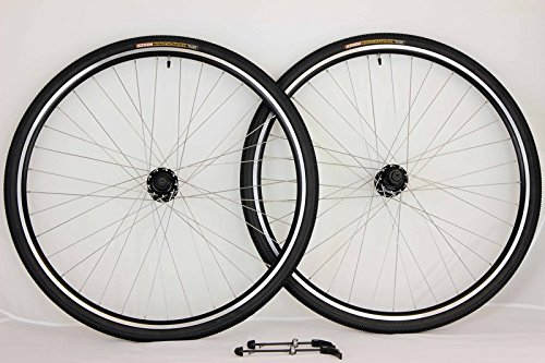 700c Disc Brake Rim Brake Road Touring Bike Wheel Set with 700 x 28 Kwick Trax Tiires and Tubes