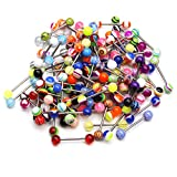 CrazyPiercing Wholesale Lot 50Pcs 14g Tongue Rings Barbells Nipple Barbell Piercing Jewelry Assorted Colors