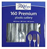 Plexware Cutlery Set 160 Total, 40 Knives, 80 Forks, 40 Spoons, Looks Like Real Plastic Silverware