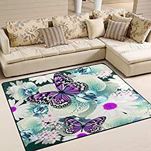 "ALAZA Beautiful Orchid Flower Butterfly Area Rug Rugs for Living Room Bedroom 5'3"" x4' 96"