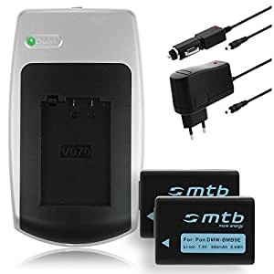 2 Baterías BMB9E + Cargador para Panasonic Lumix DMC-FZ40 FZ45 FZ47 FZ48 FZ60 FZ62 FZ70 FZ72 FZ100..