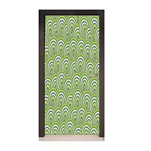 Feather 3D Door Decal Peacock Design with Bullseye Circles Pattern in Green Shades Wildlife for Home Room Decoration Apple Green Fern Green,W23.6xH78.7