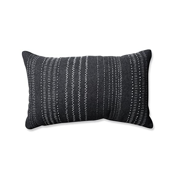Pillow Perfect Tribal Stitches Felt Rectangular Throw Pillow, Dark Melange/Grey - Includes one (1) decorative throw pillow; suitable for indoor use Plush fill - 100-percent polyester fiber filling Edges of pillow are knife edge with a Sewn seam closure - living-room-soft-furnishings, living-room, decorative-pillows - 51kqr y oQL. SS570  -