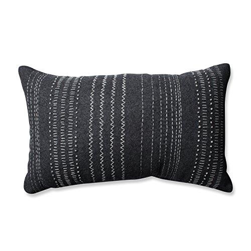 Pillow Perfect Tribal Stitches Felt Rectangular Throw Pillow, Dark Melange Grey
