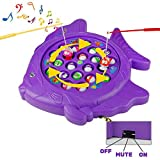 jerryvon Fishing Games Board, Electronic Rotating 3 Switch Music Controllable Fish Boards Learning Educational Toy for Children Kids Toddles 3 4 5 6 Years Old
