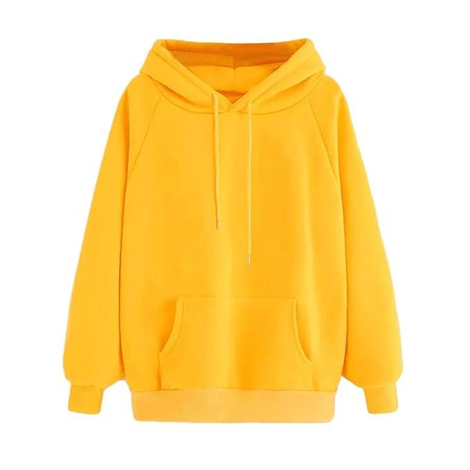 VJGOAL Moda Casual para Mujer Manga Larga Lindo Color Amarillo Sudadera con Capucha de Color sólido Sudadera con Capucha Tops Blusa con Bolsillo: Amazon.es: ...