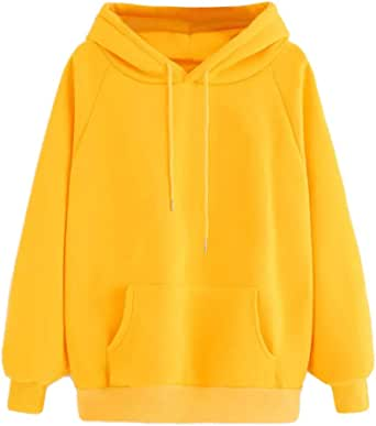 SHOBDW Liquidación Venta Moda para Mujer Sudadera con Capucha Pullover Blusa con Bolsillo Sólido Flojo 2020 Otoño Invierno Manga Larga para Mujer Tops