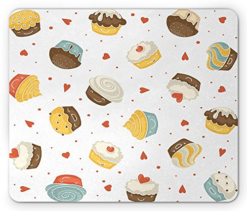 Dessert Mouse Pad, Cartoon Pattern with Muffins and