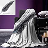 smallbeefly Gray Digital Printing Blanket Image a Dated Antique Classical Quill Pen Feather Leaf Motifs on One Side Summer Quilt Comforter 80''x60'' Grey Black