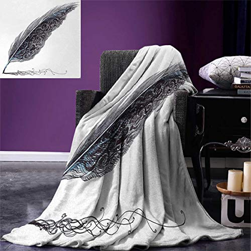 smallbeefly Gray Digital Printing Blanket Image a Dated Antique Classical Quill Pen Feather Leaf Motifs on One Side Summer Quilt Comforter 80''x60'' Grey Black by smallbeefly