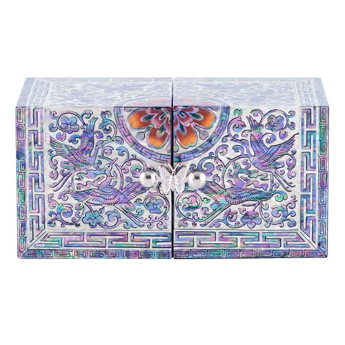 Inlay Mother of Pearl Twin Cubic Design Wooden Jewelery Trinket Keepsake Treasure Gift Drawer Box Asian Lacquer Organizer Storage (Arabesque Crane)