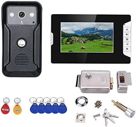 ホームステンレス鋼の電子ドアロックと7インチのビデオインターホンドア電話RFIDシステムとHDドアベル1000TVLカメラ