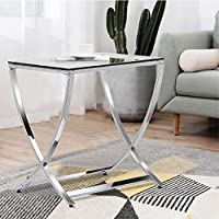 Topeakmart Stylish Clear Tempered Glass Small End Table Side Table Chrome Finish Living Room Furniture, Silver