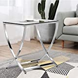 Topeakmart Stylish Clear Tempered Glass Small End Table Side Table Chrome Finish Living Room Furniture, Silver For Sale