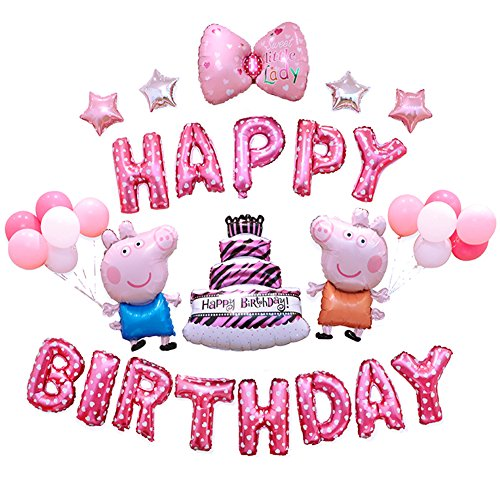 Girls Birthday Party Balloons Bowknot Birthday Cakes Balloons Cute Pig Theme Party -