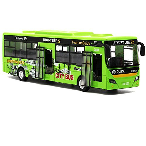 "Bocks Pull Back Bus Toy, Alloy Die Cast Toy Vehicles, 9"" Model Car, City Bus with Flash Lights Music (Green) from Bocks"