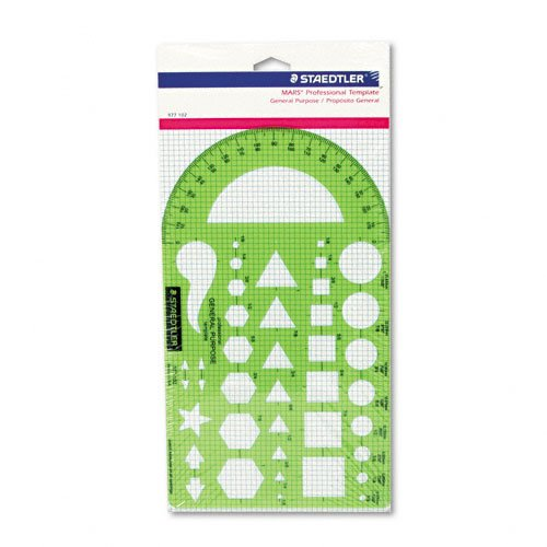 Staedtler Template, Geometric Shapes/Symbols, Protractor, Inch Scale, 9.5 x 5.5 Inches (977102)