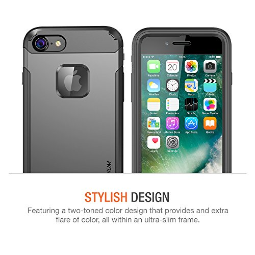 Trianium iPhone 7 Case [Duranium Series] Heavy Duty Ultra Protective Hard Cover Shock Absorption w/ Built-in Screen Protector+ Holster Belt Clip Kickstand for Apple iPhone 7 2016 -Gunmetal (TM000181) by Trianium (Image #6)